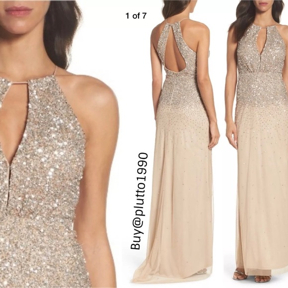 Adrianna Papell Dresses & Skirts - New Adrianna Papell beaded halter gown champagne
